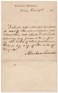 Lincoln Document Stating He Will Not Revoke Emancipation