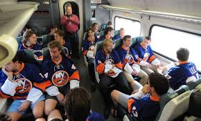Islanders on their way to Brooklyn's Barclay Center on the LIRR