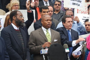 Then New York State Senator Eric Adams (center) speaking at a press conference on the steps of City Hall, 2008. Adams is the Boro President of Brooklyn. Photo credit: Thomas Good