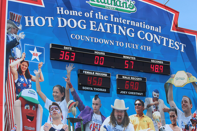 Nathan's Hot Dog Eating Contest Sign: Photo credit: Shinya Suzuki