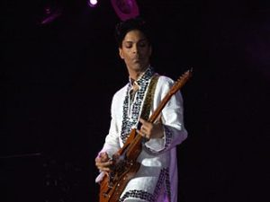 Prince playing at Coachella 2008. Photo by Scott Penner.