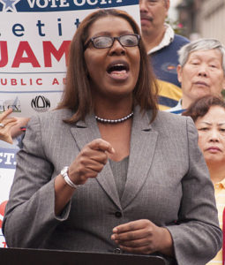 NYC Public Advocate candidate Letitia James at a rally, September 2013. Photo by Matthew Cohen