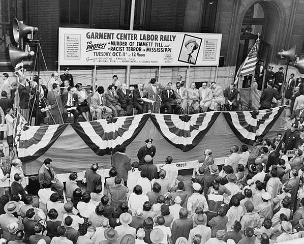 Street rally in New York City, October 11, 1955, under joint sponsorship of NAACP and District 65, Retail, Wholesale and Department Store Workers Union in protest of slaying of Emmett Till.
