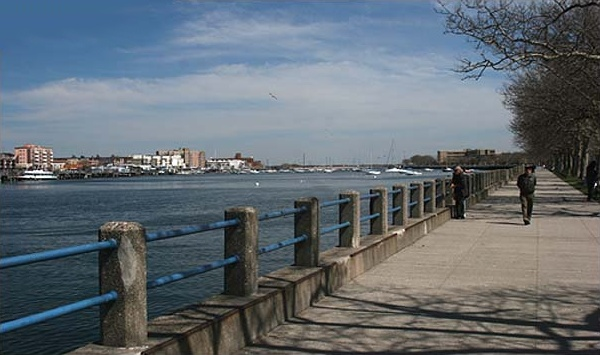 Looking east along the northern esplanade of Manhattan Beach, and along Sheepshead Bay in Brooklyn, NY. This image was made by Robert Swanson Username = ryssby